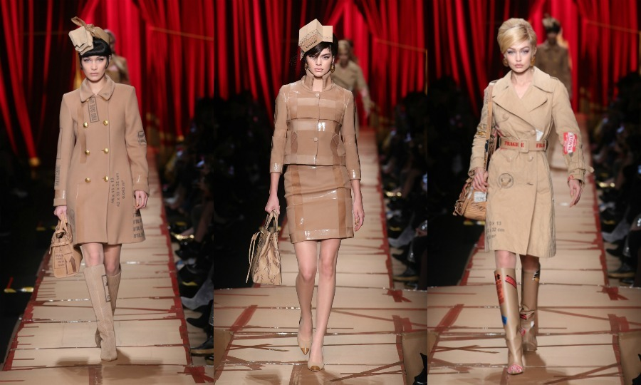 Cardboard couture! Bella Hadid, Kendall Jenner and Gigi Hadid walked the cardboard runway during the Moschino fashion show.