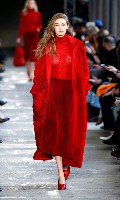 Gigi Hadid wowed in a red number at the Max Mara fashion show.