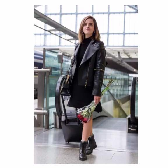 Even off-duty, Emma looked effortlessly stylish in this faux leather jacket and dress from Stella McCartney, which she layered over a body from Woron and black ankle boots from Portugese-brand Good Guys Don't Wear Leather.