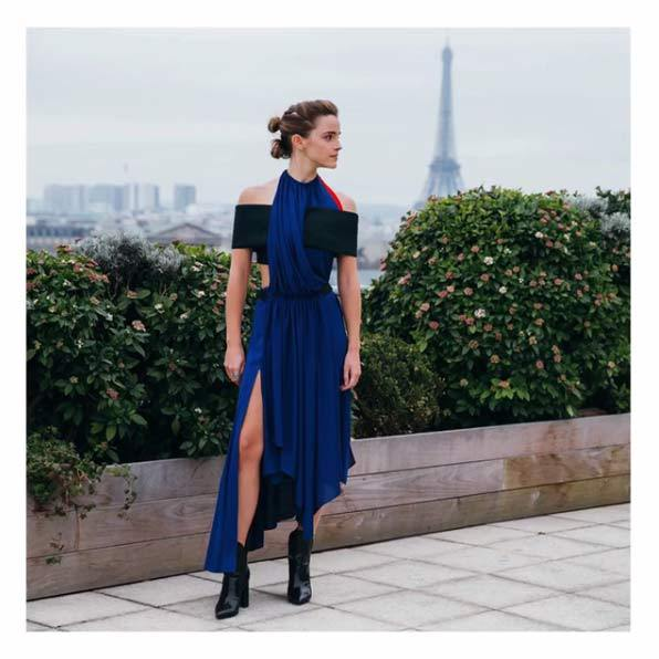 "<p>Emma's striking Louis Vuitton dress was custom-designed by Nicolas Ghesquiere, using ""Newlife recycled polyester, created from used plastic bottles"". The actress wore the design for a day of interviews in Paris.</p><p>Photo: © Instagram</p>"