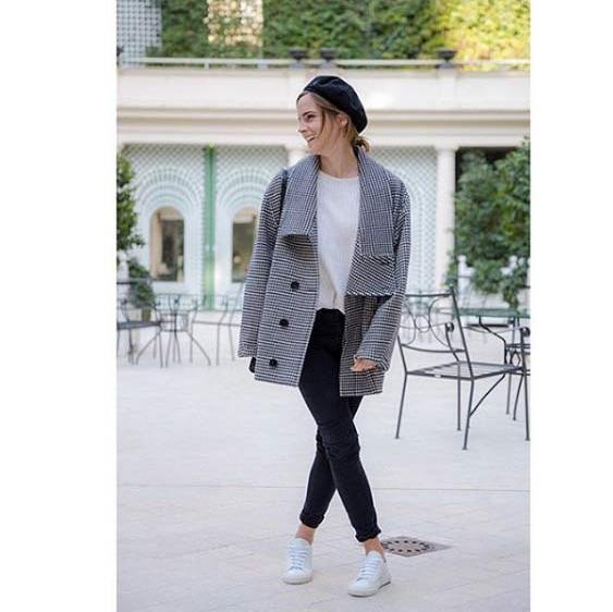<p>The <em>Beauty and the Beast</em> star wore another Stella McCartney design during her first day of promotion for the film. Emma styled the houndstooth coat with a Filippa K jumper and Good Guys Don't Wear Leather trainers.</p><p>Photo: © Instagram</p>