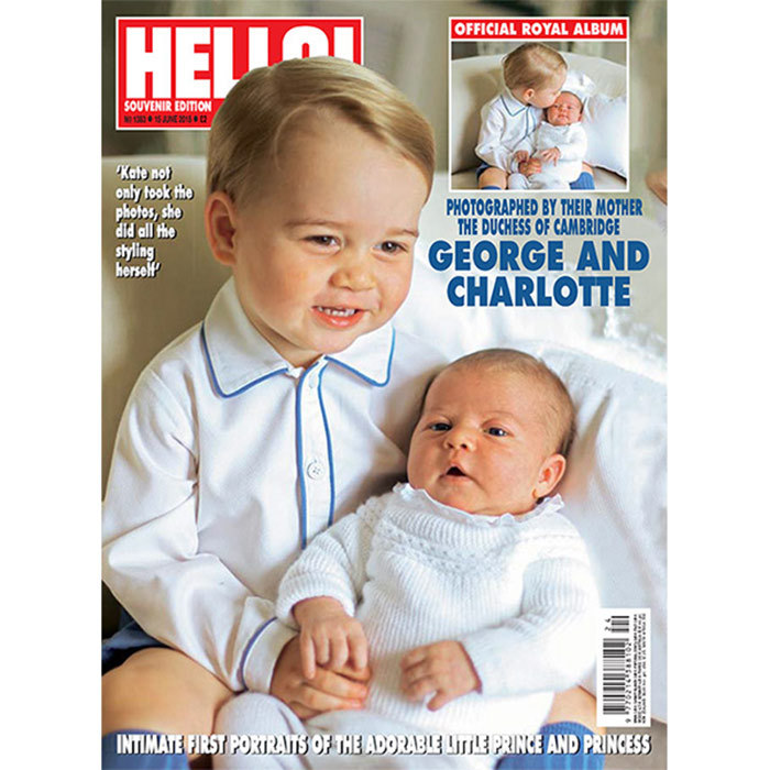 Princess Charlotte again wearing an outfit by Irulea, pictured with Prince George on the cover of <em>HELLO!</em> magazine.