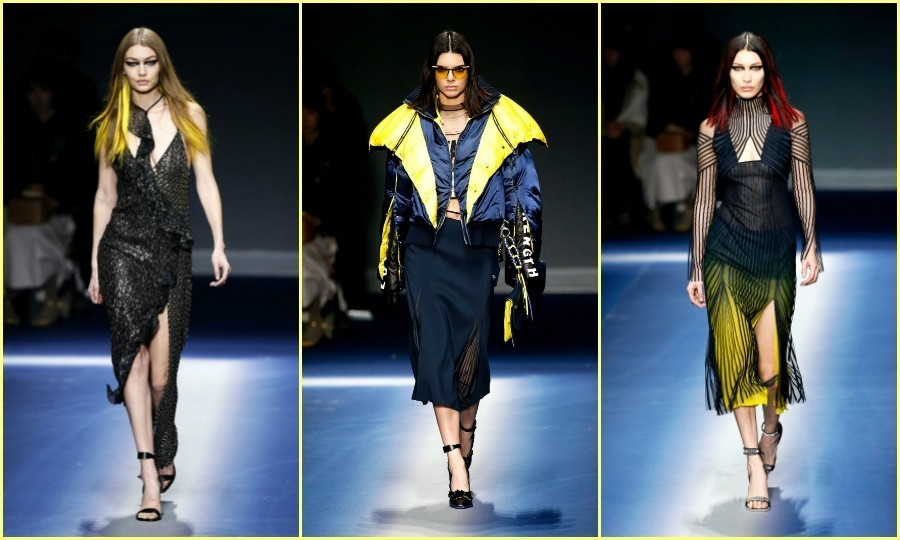 Gigi Hadid, Kendall Jenner and Bella Hadid looked futuristic on the Versace runway. The power trio sported some wild looks, with Gigi rocking neon yellow highlights, Kendall wearing orange-tinted shades and Bella infusing her dark hair with red.
