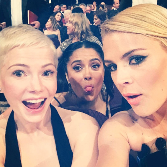 "<p>BFFs Busy Philipps and Michelle Williams walked the red carpet arm-in-arm at the Oscars, and later posed for a selfie inside the ceremony, along with Salma Hayek. Sharing the photo on her Instagram account, <em>Freaks and Geeks</em> star Busy, 37, wrote: ""World's greatest / most beautiful photo bomber.""</p><p>Photo: © Instagram</p>"