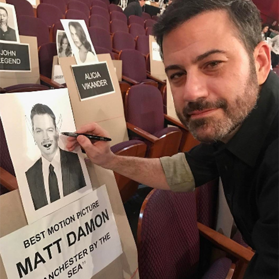 "Host Jimmy Kimmel poked fun at his 'frenemy' Matt Damon ahead of the show. He shared a picture showing him defacing the actor's seating reservation, writing: ""Best Picture Vominee Matt Damon #Oscars."""