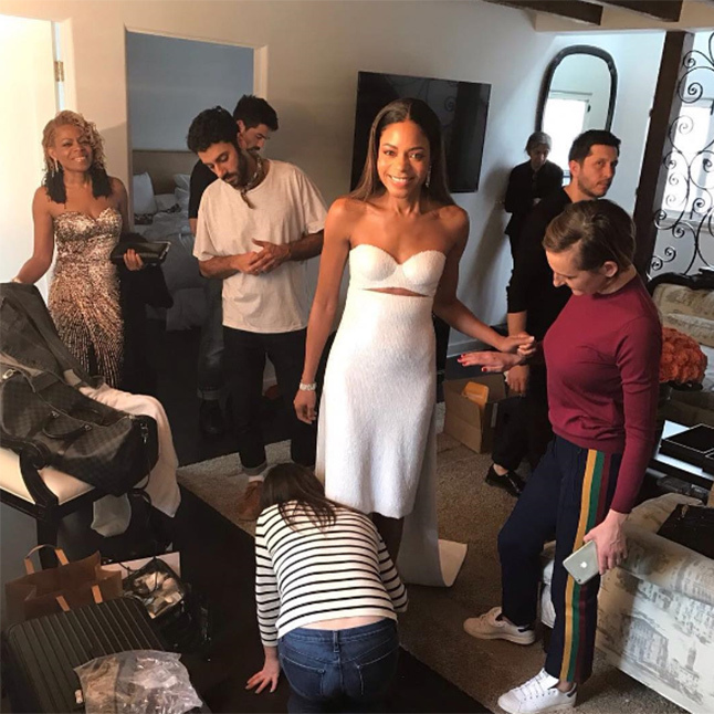 "The actress also shared a picture showing her whole squad at work ahead of the Oscars ceremony. ""It takes a village!"" she joked alongside. ""The final look!"""