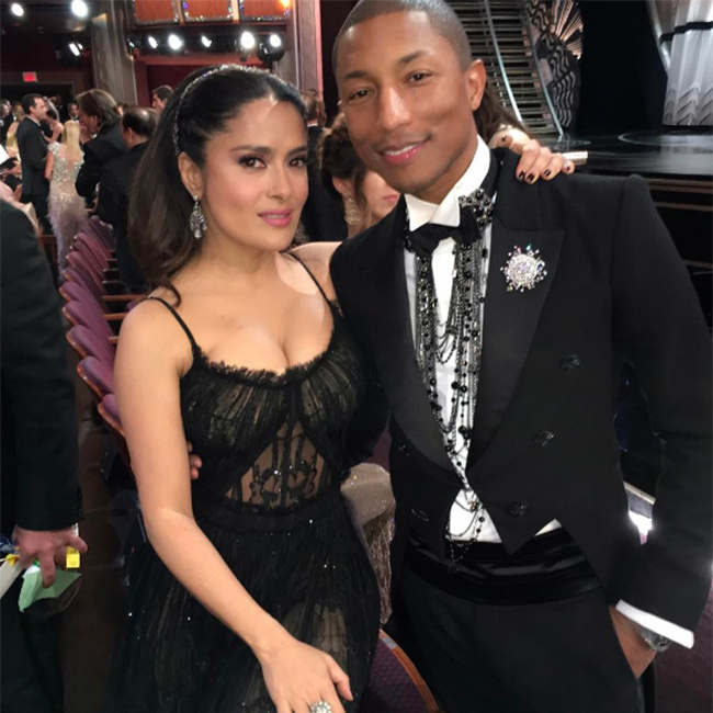 "Hollywood star Salma Hayek took to Instagram to share a photo showing her posing inside the ceremony with hitmaker Pharrell Williams. ""With #pharrell at the #oscars,"" she wrote in the caption."