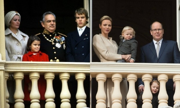 Left: Princess Grace and Prince Rainier III of Monaco seen with their children, Stephanie and Albert, on the balcony of the palace for national day november 1971. Right: Princess Charlene of Monaco and Prince Albert II of Monaco (all grown up) seen on the same balcony for the Ceremony of the Sainte-Devote at the Monaco Palace on January 27, 2017.