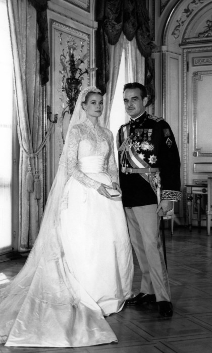 The official wedding photo of Grace Kelly and Prince Rainier of Monaco at their wedding ceremony in Monaco on April 19, 1956.