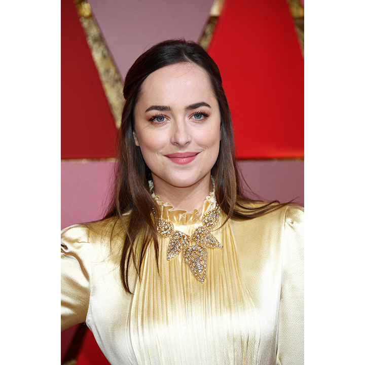 To go with the Victorian vibe of her Gucci gown, Dakota Johnson donned a beautiful vintage necklace from Cartier, which we can only assume is valued into the hundreds of thousands of dollars. The piece, from 1958, highlighted the neckline of the ensemble perfectly. The 27-year-old also wore two vintage rings from the designer: one from 1945 and another from 1946. 