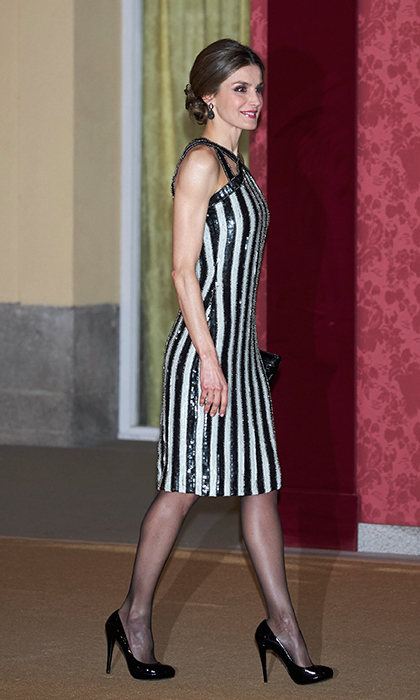 "<a href=""/tags/0/queen-letizia/"" target=""_blank"">Queen Letizia of Spain</a> rocked black and white stripes when she played host to Argentina's prime minister and his wife  in early February. 