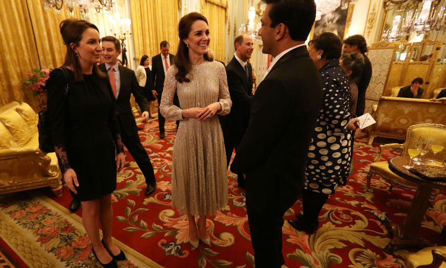 The Duchess stunned in a gold Erdem dress at the lavish UK-India Year of Culture launch on Monday evening