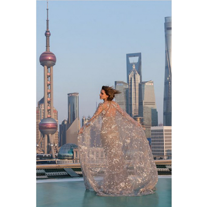 It also featured a glittering sheer cape. 
