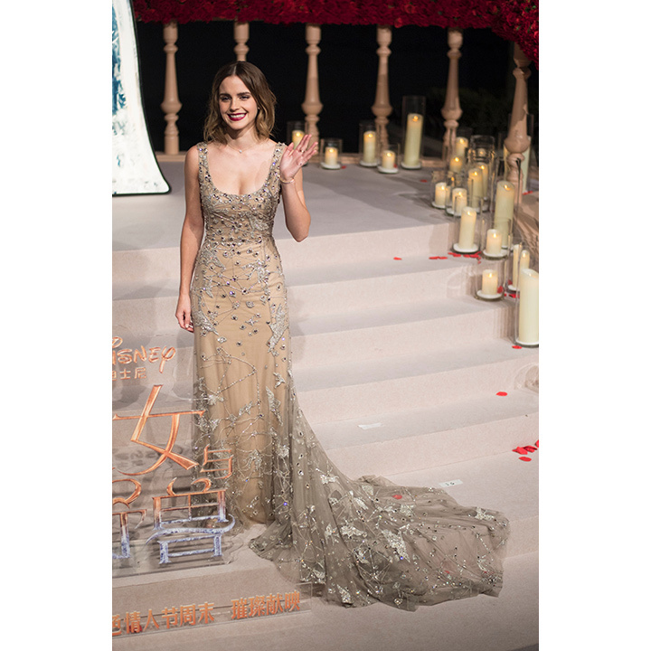 "In Shanghai, Emma looked every inch the Disney princess in Elie Saab. The stunning gown was crafted from left-over fabric and according to the actress was made from ""15 metres of tulle, embroidered with silk thread, sequins, beads and stones, five metres of illusion tulle and four metres of crepe georgette silk.
