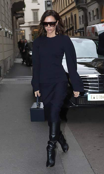 Victoria Beckham attended a public memorial service for Franca Sozzani in Milan.