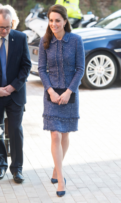 Kate stepped out in a stylish tweed skirt suit by Rebecca Taylor for a visit to Ronald McDonald House Evelina London to meet with families at the local children's hospital.