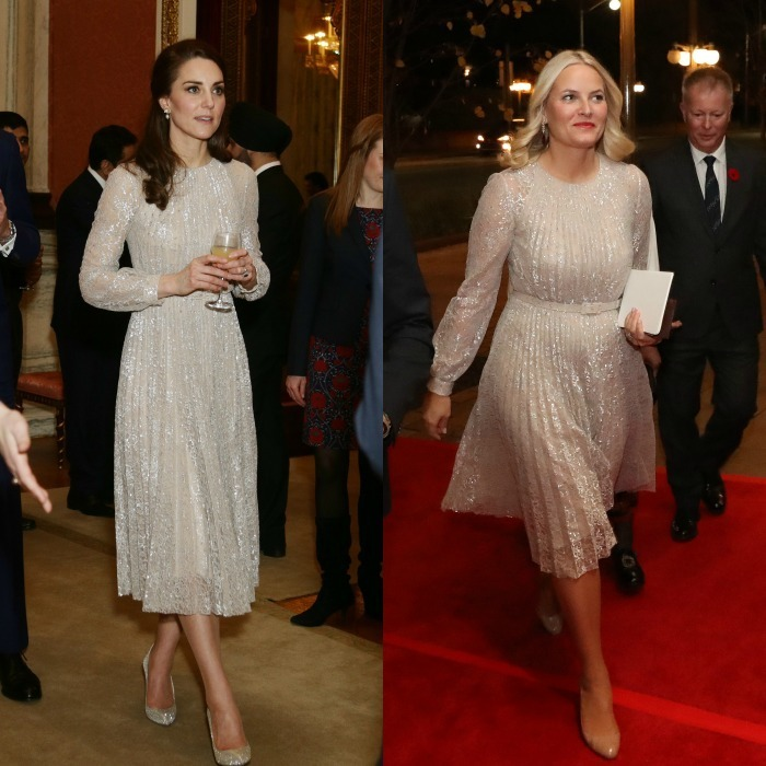 A frock fit for future Queens! Months before the Duchess of Cambridge had her Cinderella moment wearing shimmering Oscar de la Renta pumps and Erdem's Rhona dress to the launch of the UK-India Year of Culture 2017, Crown Princess Mette-Marit of Norway stepped out wearing the same pleated, elegant dress to an event at the Canadian Museum of History in Quebec.