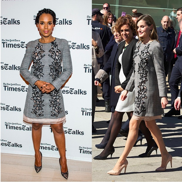 There is nothing scandalous about this twinning moment by Kerry Washington and Queen Letizia of Spain, given that both style stars look equally amazing. Kerry paired her Carolina Herrera Prince Of Wales floral cutout dress with a matching grey pumps while the Spanish monarch opted for nude. 