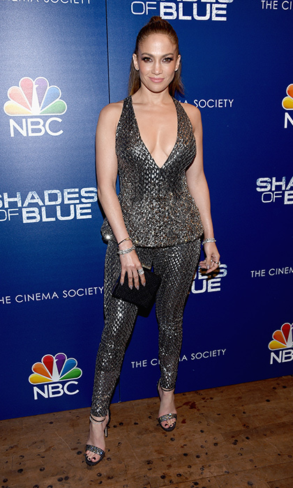 <strong>Mar. 1:</strong> Jennifer Lopez stunned in silver Zuhair Murad at the second season premiere of <em>Shades Of Blue</em> in New York. 