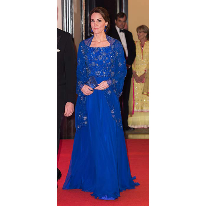 The Duchess of Cambridge wore Amrapali earrings and a Jenny Packham gown to the Bollywood gala in India.