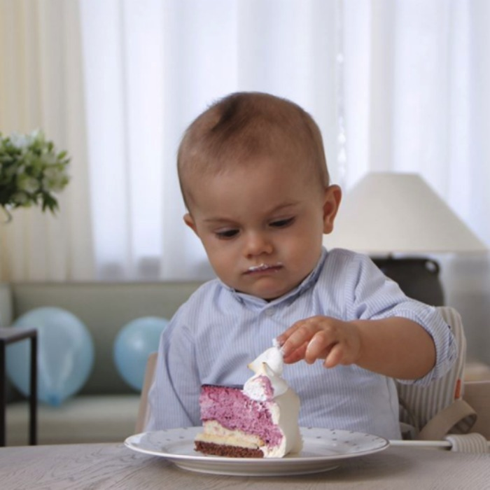 The little prince enjoyed a sweet treat on his milestone birthday. 