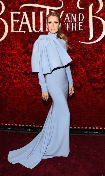 <strong>Mar. 2:</strong> Celine Dion was a vision in blue Christian Siriano at the premiere of <em>Beauty and the Beast</em> in Hollywood. 