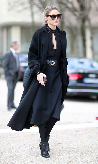 Olivia Palermo donned head to toe black for the Dior show at Paris Fashion Week. 