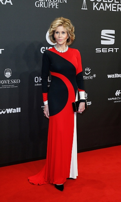 <strong>Mar. 4:</strong> Jane Fonda upped the style stakes in a geometric pattern at the Goldene Kamera awards in Germany. 