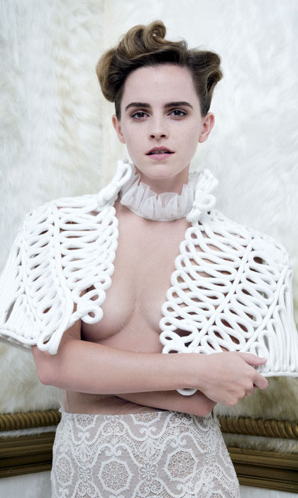 Emma Watson has hit back at critics who say she has betrayed her feminist principles by posing for a revealing picture in the March issue of <em>Vanity Fair</em>, in which parts of her breasts were visible.