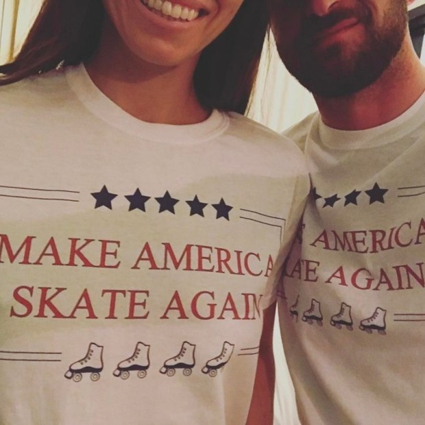 "The 35-year-old also shared an adorable photo of the couple wearing matching T-shirts with the slogan: ""Make America Skate Again."" Along with the picture, Jessica wrote a funny caption that read: ""Sign the petition now!"" Photo: Instagram/@jessicabiel