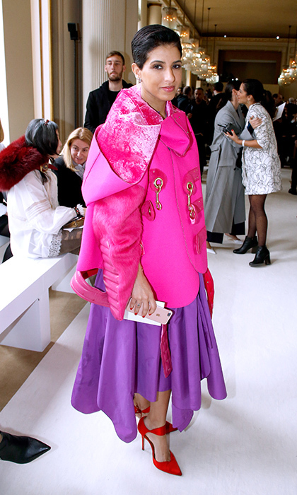 <em>Vogue Arabia</em>'s editor-in-chief Princess Deena Aljuhani Abdulaziz attended the Giambattista Valli show. 