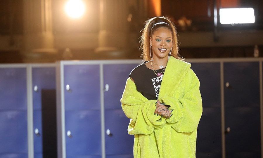 Rihanna was all smiles at her FENTY PUMA presentation during PFW. 
