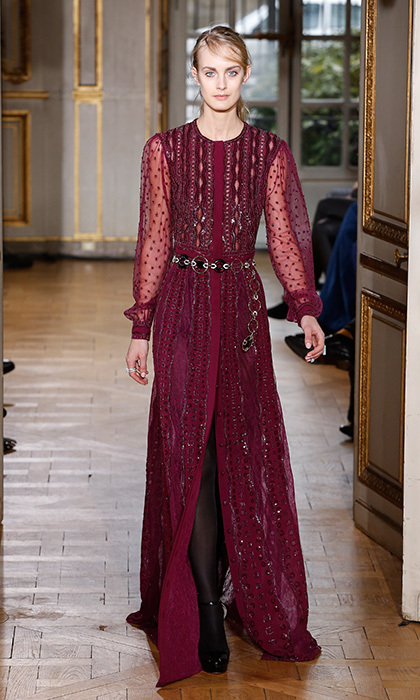 A simple, A-line gown complete with a front slip and sheer sleeves strikes the right balance between classic and contemporary styles. Added bonus? Zuhair Murad's vibrant raspberry shade would flatter Kate's skintone and pop at an evening event.</p><p>Photo: &copy; Getty Images</p>