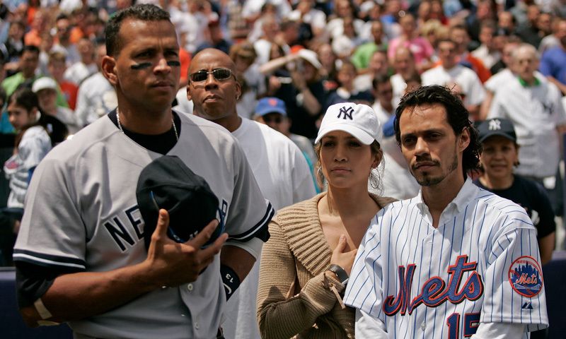 JLo pictured in 2005 with her now-ex-husband Marc Anthony and current boyfriend Alex.