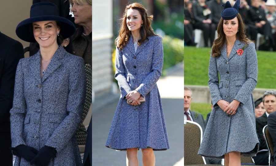 Kate has worn this Michael Kors coat not one, not two, but three times! For the latest sighting, the Duchess wore the coat during the unveiling of the new memorial gardens, pairing it with a wide-brimmed navy blue hat. She was previously seen in the look in May 2016 and for the first time during her visit to Australia in 2014.