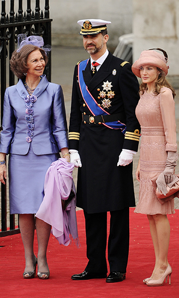 Queen Sofia, King Felipe and Queen Letizia attend Prince William and Kate's wedding in 2011.