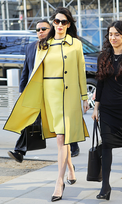 Amal channeled Jackie Kennedy in a sunny Bottega Veneta coat and shift dress for an appearance at the UN in March. 