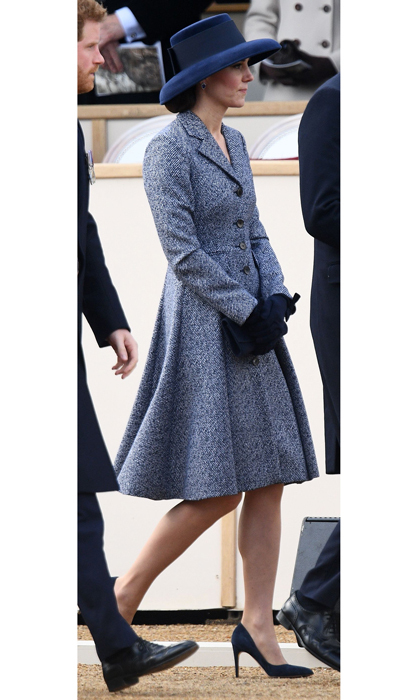 The Duchess of Cambridge looked sophisticated in Michael Kors for the unveiling of a war memorial in London. The royal paired her twill coat with a chic Tiffany hat by Lock & Co.