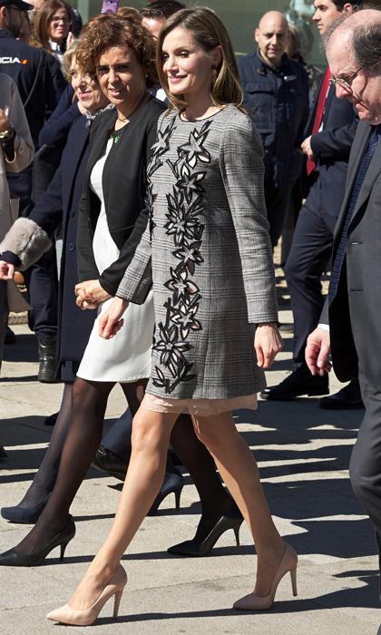 Queen Letizia kept it effortlessly chic donning a shift dress by Carolina Herrera to the closing of the International Congress Women and Disability: We Crossed Borders in Avila, Spain.