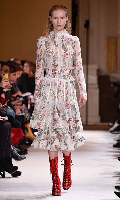 <p><strong>Paris Fashion Week</strong></p><p>The delicate floral embroidery, flowing yet structured silhouette and sweet frill-adorned high neck detail make this Giambattista Valli dress ideal for Royal Ascot, which incidentally is right around the corner!</p><p>Photo: © Getty Images</p>