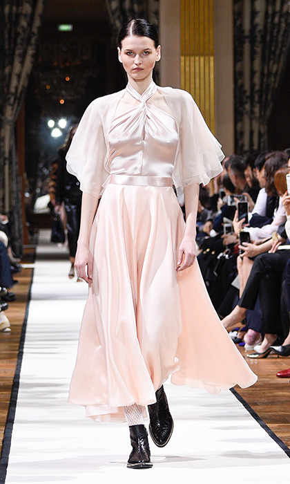 <p><strong>Paris Fashion Week</strong></p><p>Reminiscent of Princess Diana's iconic style, this eighties-inspired, blush-coloured satin and silk Lanvin gown would look resplendent on the Duchess.</p><p>Photo: © Getty Images</p>