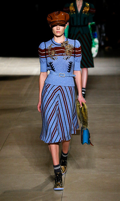 <p><strong>Paris Fashion Week</strong></p><p>A spin on the twin set – also known as royalty's most enduring fashion duo – the dynamic pattern and colour pattern of this Miu Miu creation would appeal to Kate's sense of fun and whimsy while adhering to proper dress code etiquette.</p><p>Photo: © Getty Images</p>