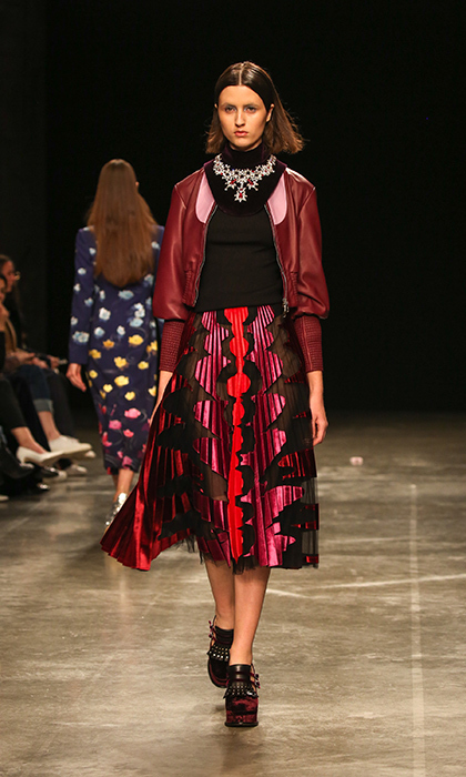 <p><strong>London Fashion Week</strong></p><p>If the duchess is looking for something a little bolder in both colour and print, Mary Katrantzou should be her first stop. The designer took inspiration from the Disney classic Fantasia, and that meant more whimsy and deeper colours for this collection. This flowy but tailored pleated skirt would be a great piece for Kate to wear to a more casual evening event.</p><p>Photo: © Getty Images</p>