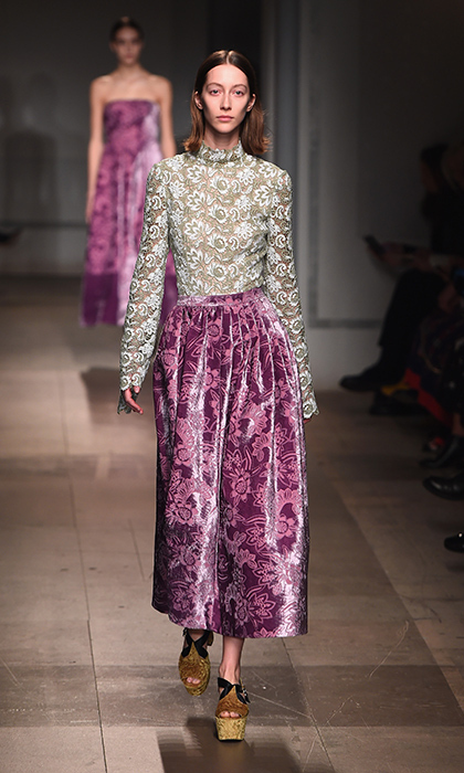 <p><strong>London Fashion Week</strong></p><p>Canadian-born Londoner Erdem has a knack for working a bit of English sensibility into his collections. This tea-length skirt and lace top are a testament to that, and would make a beautiful evening outfit for Kate, who has worn several of the designer's coats and gowns in the past.</p><p>Photo: © Getty Images</p>