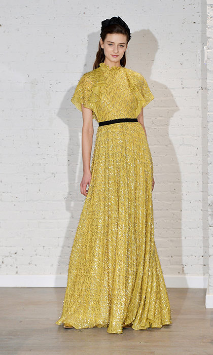 <p><strong>New York Fashion Week</strong></p><p>The cut of this sunshiny Lela Rose gown is very similar to the lilac Alexander McQueen stunner that Kate wore to the BAFTA gala in 2011—one of her all-time best evening looks—so we know she would look equally gorgeous in this dress, which also features a dainty ruffle detail. We would also love to see her in the golden-yellow hue—an au courant colour she has yet to wear for evening.</p><p>Photo: © Getty Images</p>