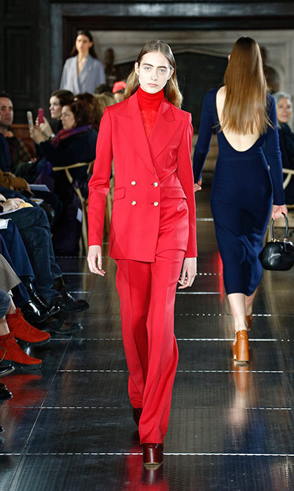 <p><strong>New York Fashion Week</strong></p><p>This season, designers showed a number of elegant pant suits on the runways—no doubt inspired by Hillary Clinton's signature look—and so it seems an opportune time for Kate to swap her beloved red Luisa Spagnoli skirt suit for a standout blazer and trousers set from Gabriela Hearst. The double-breasted longline silhouette of the jacket would also look lovely paired with a full, pleated skirt—and is the perfect colour for Kate to salute Canada's 150th anniversary this July.</p><p>Photo: © Getty Images</p>