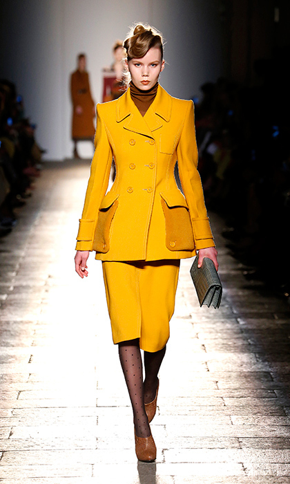 <p><strong>Milan Fashion Week</strong></p><p>Kate has helped bring the skirt suit back to the runway and Bottega Veneta has since transformed it into a chic and sophisticated style statement. Its stately structure and pocket detail is everything the duchess needs to take her skirt suit game to the next level.</p><p>Photo: © Getty Images</p>