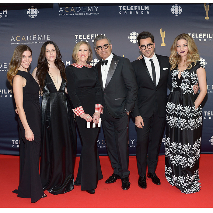 The cast of <em>Schitt's Creek</em> (From left: Sarah Levy, Emily Hampshire, Catherine O'Hara, Eugene Levy, Dan Levy, Annie Murphy)