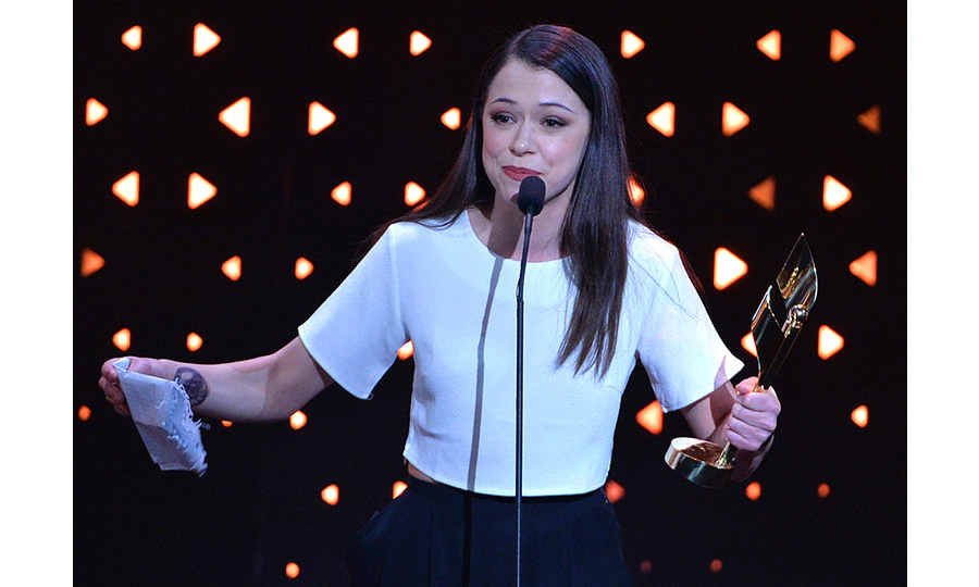 Tatiana Maslany nabbed two trophies at Sunday's show, including Best Actress in a Drama Series for <em>Orphan Black</em> and Best Lead Actress in a Film for <em>The Other Half</em>. It was during the latter award's acceptance speech that the Regina native delivered the sweetest message to her longtime love, fellow actor Tom Cullen. 