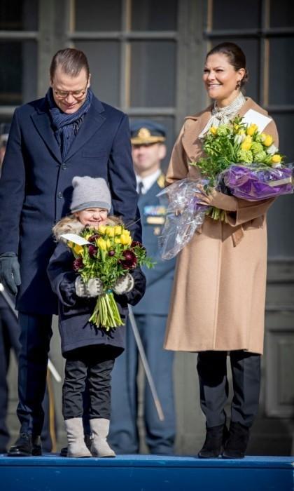 Baby Prince Oscar and Princess Estelle steal the show at mum Victoria's name day.